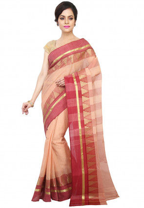 Tant Cotton Saree in Peach