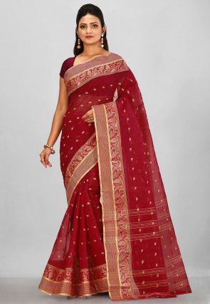 Tant Cotton Saree in Red