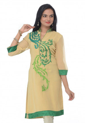 Embroidered Georgette Kurti In Beige