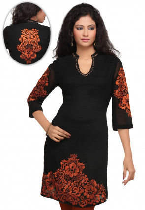 Embroidered Georgette Kurta in Black