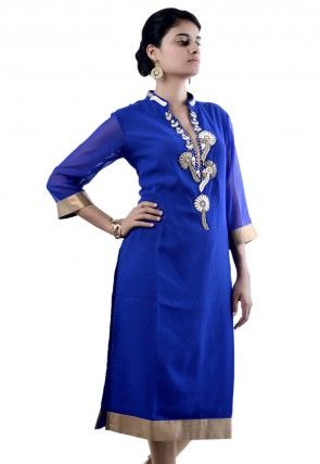 Embroidered Viscose Georgette Long Kurta in Blue