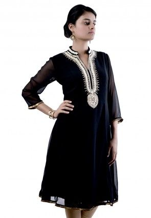 Embroidered Viscose Georgette Tunic in Black
