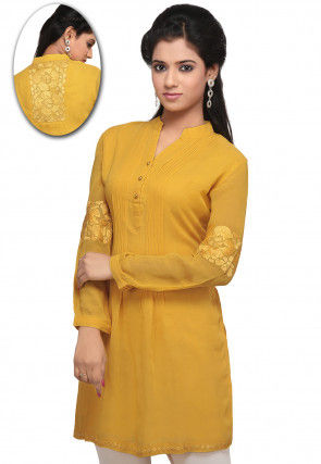 Embroidered Georgette Tunic in Mustard