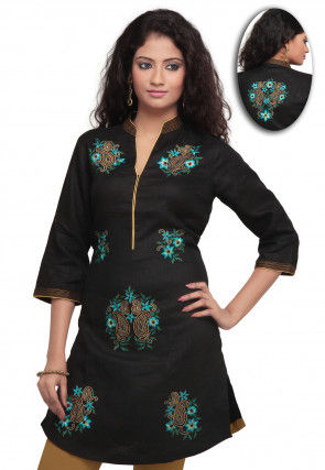Embroidered Cotton Kurti In Black