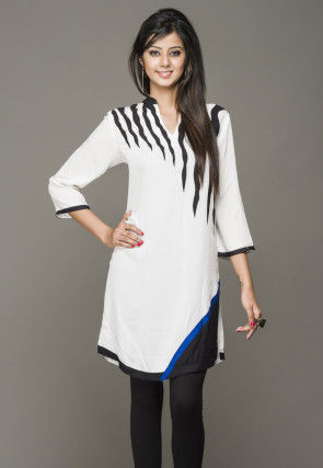 Embroidered Cotton Rayon Kurti in White