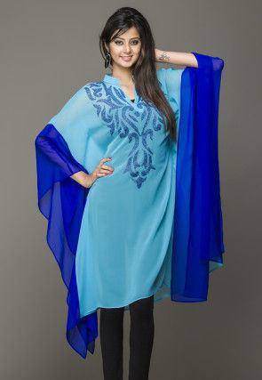 Embroidered Georgette Kaftan in Turquoise