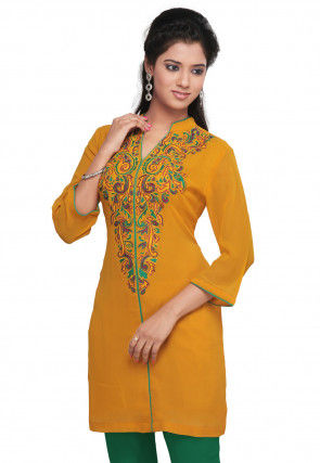 Embroidered Georgette Tunic In Yellow