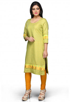Pure Linen Long Kurta In Neon Green