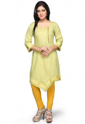 Pure Linen Asymmetric Kurta in Light Green