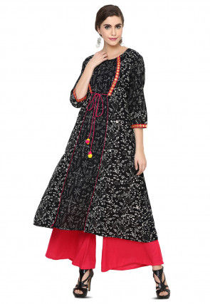 Block Printed Cotton Jacket Style Kurta in Black