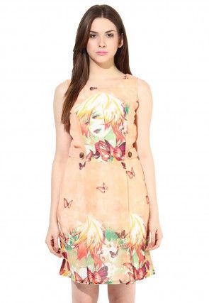 Printed Georgette Short Dress In Peach