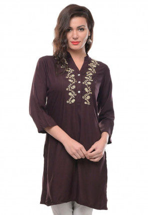 Embroidered Rayon Kurti in Brown