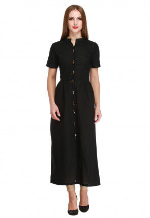 Solid Color Cotton Dress in Black