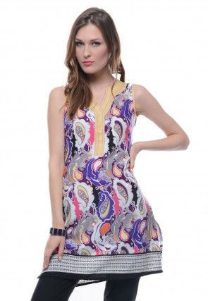 Printed Crepe Kurti in Multicolour