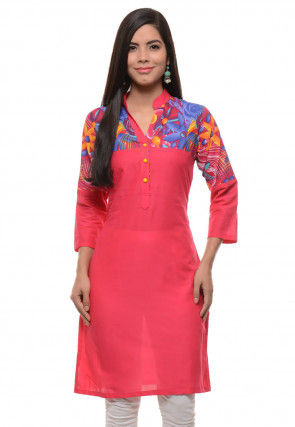 Printed Cotton Kurti In Coral