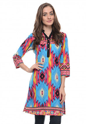 Printed Cotton Kurti in Multicolor