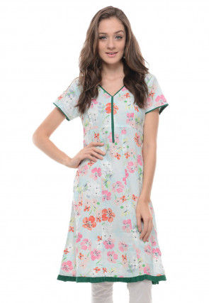 Printed Cotton Tunic in Light Blue