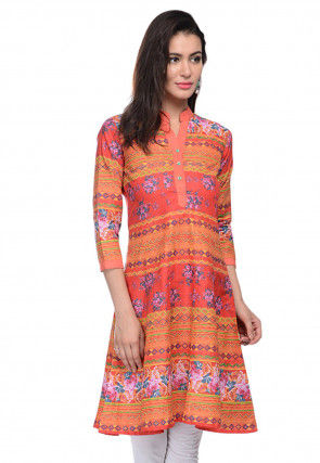 Printed Cotton Tunic in Orange and Rust