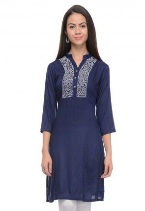 Embroidered Cotton Rayon Kurti In Navy Blue