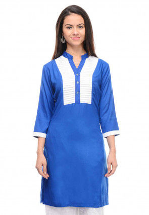 Contrast Trim Rayon Cotton Straight Kurti in Blue