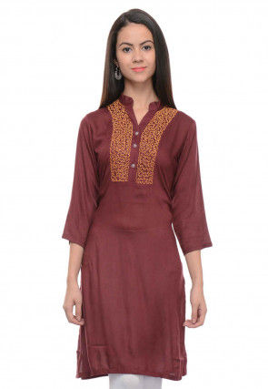Embroidered Rayon Cotton Straight Kurti in Brown