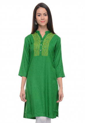 Embroidered Rayon Cotton Straight Kurti in Green