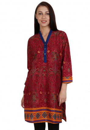 Printed Rayon Cotton Kurti in Maroon