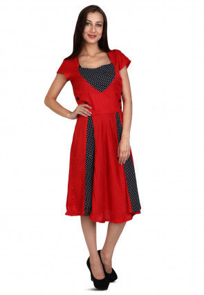 Printed Rayon Dress in Red