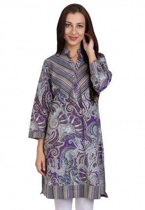 Printed Cotton Kurti in Purple