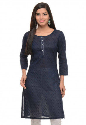 Woven Cotton Jacquard Kurti in Navy Blue