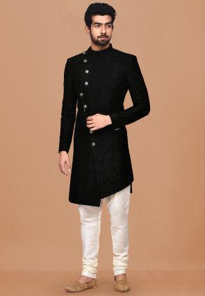 Textured Art Silk Jacquard Asymmetric Sherwani in Black