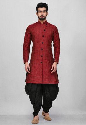 Textured Art Silk Jacquard Dhoti Kurta in Maroon