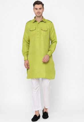 Textured Art Silk Pathani Kurta Set in Light Green