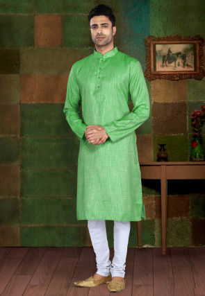 Textured Cotton Kurta Pajama in Light Green