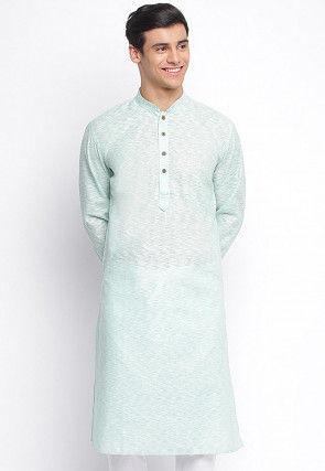 Textured Cotton Slub Kurta in Light Sea Green