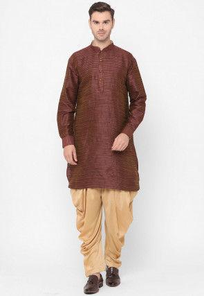 Textured Dupion Silk Kurta Set in Brown