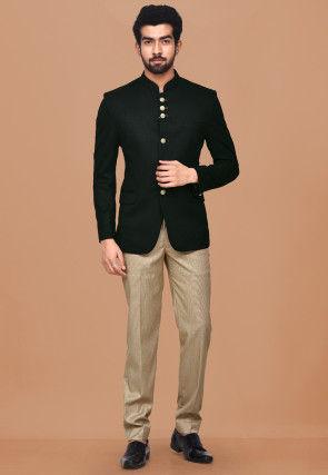 Textured Polyester Jacquard Jodhpuri Suit in Black
