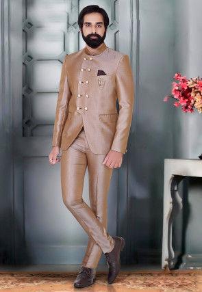 Textured Terry Rayon Jodhpuri Suit in Light Brown