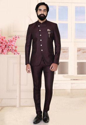 Textured Terry Rayon Jodhpuri Suit in Wine