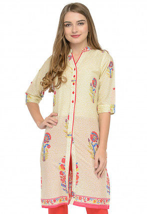 Printed Cotton Front Open Straight Kurti in Light Yellow