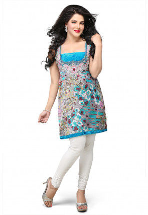 Printed Satin Kurti In Multicolor