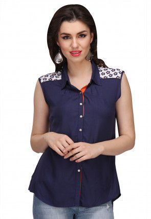 Digital Printed Viscose Top in Navy Blue
