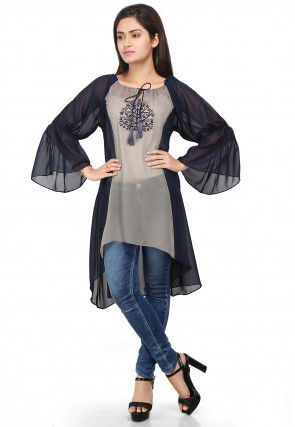Embroidered Georgette A line Tunic in Navy and Grey