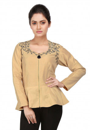 Nakshi Embroidered Cotton Silk Peplum Jacket in Beige