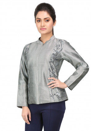 Embroidered Bhagalpuri Silk Bomber Jacket in Grey