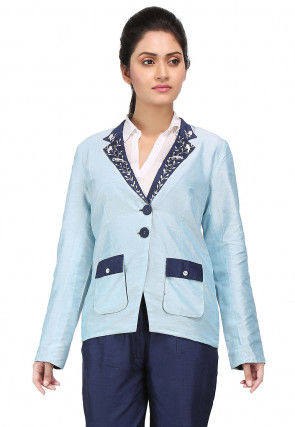 Embroidered Cotton Silk Reefer Jacket in Sky Blue