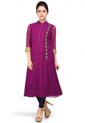 Embroidered Georgette Front Slit Long Kurta in Purple