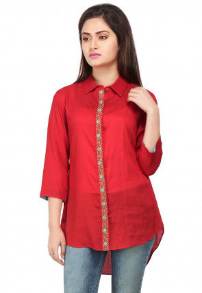 Embroidered Viscose Tunic in Red