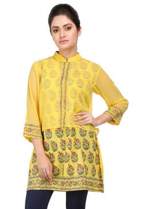 Block Printed Georgette and Viscose Tunic in Yellow