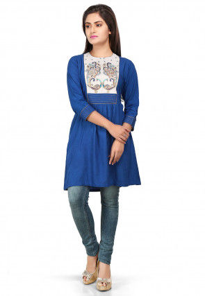 Embroidered Viscose Cotton Tunic in Royal Blue